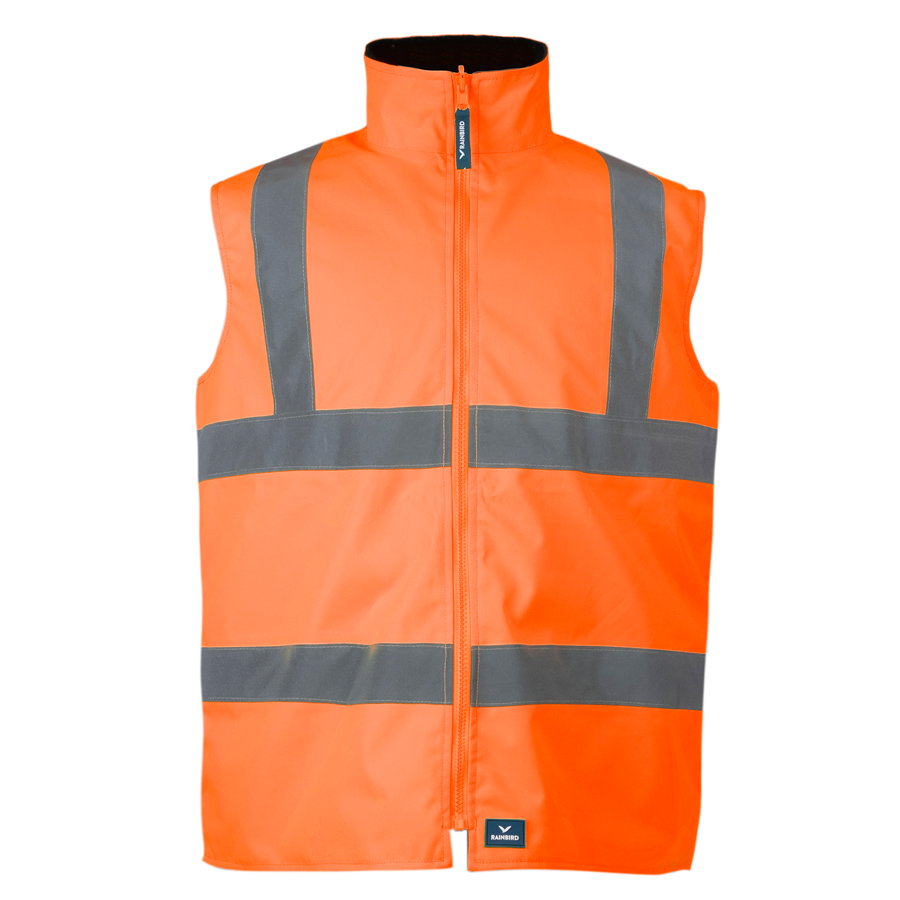 REVERSIBAL UTILITY VEST-8553-FLUORO ORANGE-FORM FRONT